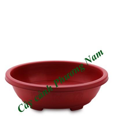 Chậu nhựa oval 36 x 29 cm (đỏ)