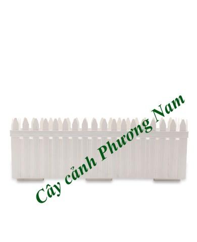 Chậu nhựa hàng rào 57 x 18 cm (trắng)