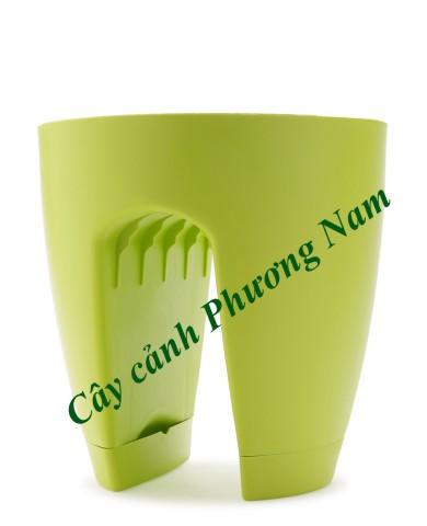 Chậu nhựa lan can 30 x 30 cm (xanh lá cây)