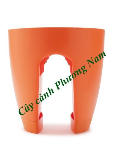 Chậu nhựa lan can 30 x 30 cm (cam)