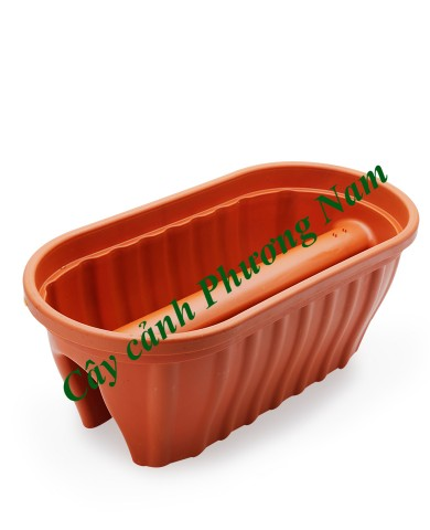Chậu nhựa lan can 60 x 30 cm (cam)